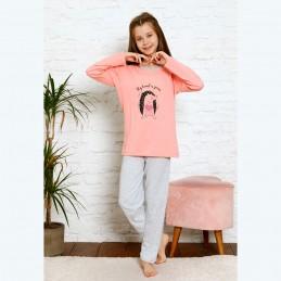 Piżama dziewczęca z jeżem w kolorze łososiowym 134 do 164