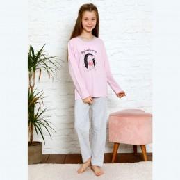 Jasnofioletowa piżama dziewczęca nadruk z jeżem 134 do 164