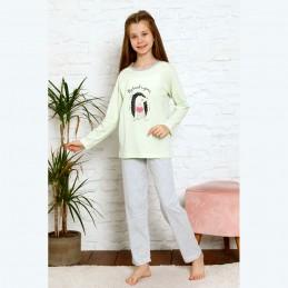 Świetna piżama dziewczęca w kolorze jasnozielonym 134 do 164