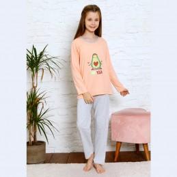 Bawełniana piżama dziewczęca kolor łososiowy 134 do 164