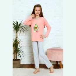 Koralowa piżama dziewczęca z super nadrukiem 134 do 164