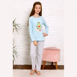 Bawełniana błękitna piżama dziewczęca z awokado 134 do 164