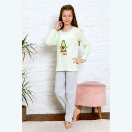 Bawełniana piżama dziewczęca jasnozielona z awokado 134 do 164