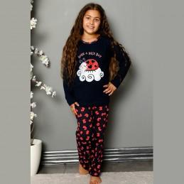 Ciemna bawełniana piżama dziewczęca czerwony wzorek 134 do 164