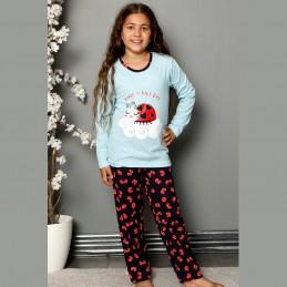 Błękitna piżama dziewczęca bawełna w biedronki 134 do 164