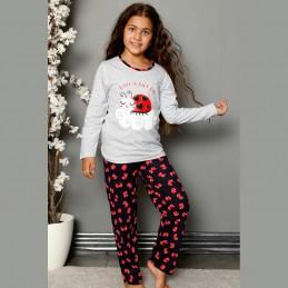Jasnoszara piżama dziewczęca z biedronką bawełna 134 do 164