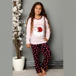 Piżama dziewczęca jasnoróżowa bawełna 134 do 164