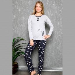 Piękna damska piżama kolor szary z długim rękawem M L XL 2XL