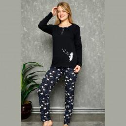 Granatowa damska piżama z długim rękawem M L XL 2XL