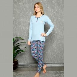 Pastelowa niebieska damska piżama z długim rękawem M L XL 2XL