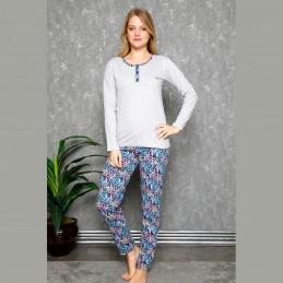 Kolorowa piżama damska z długim rękawem w kwiaty M L XL 2XL