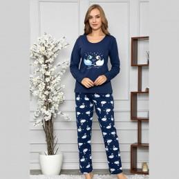Ciemna piżama damska dwuczęściowa w łabędzie M L XL 2XL