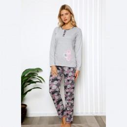 Jasna piżama damska dwuczęściowa komplet M L XL 2XL