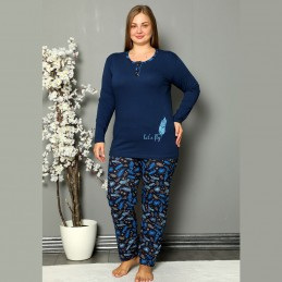 Ciemna damska piżama wzór w piórka XL 2XL 3XL 4XL