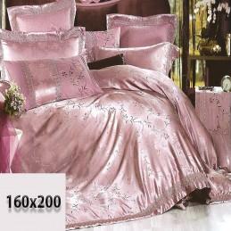 Pościel koloru różowego i fioletowego 160/200 z tłoczonym haftem