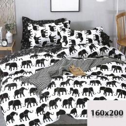 Biało-czarna pościel 160x200 bawełna