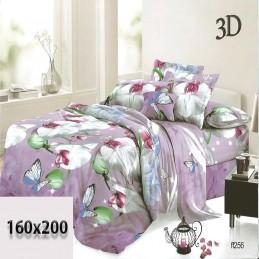 Pościel fioletowa w kwiaty i motyle 3D 160x200
