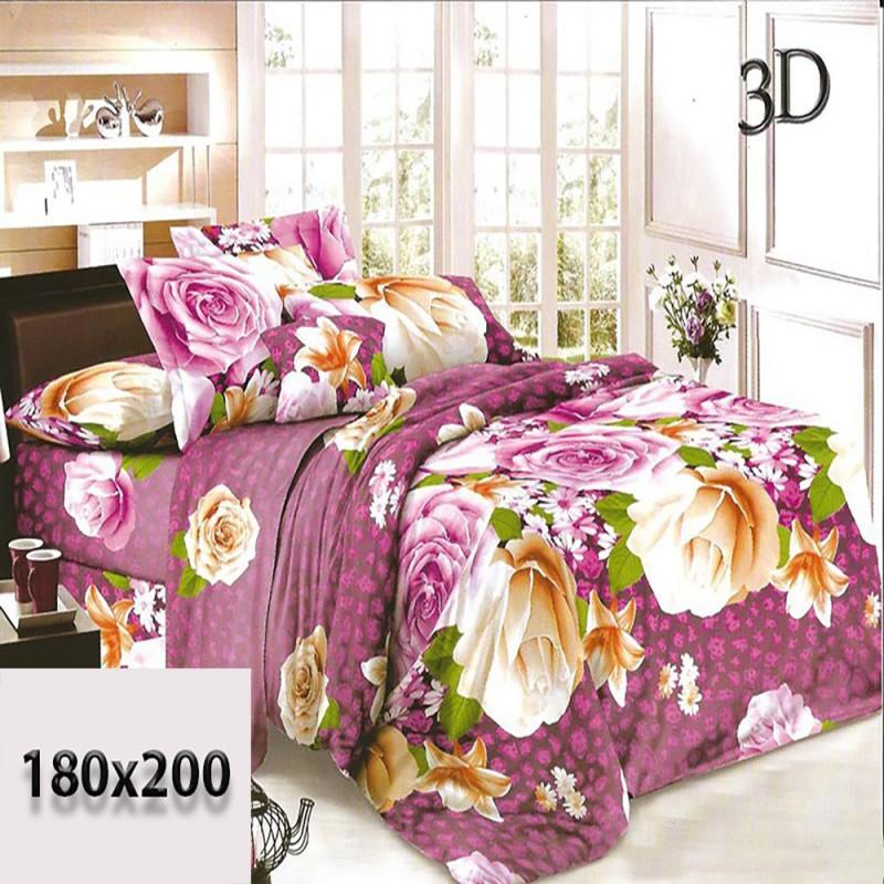 Pościel 3d czarna w fioletowe cętki i róże 180x200 bawełna