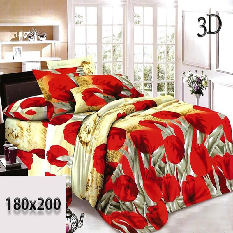Żółta pościel 3d 180x200 bawełna czerwone tulipany