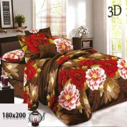 Komplet pościeli brązowej 3d z bawełny 180x200 kwiaty