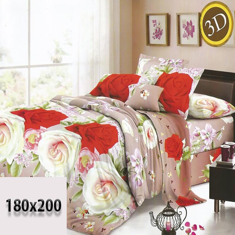Beżowa i brązowa cieniowana pościel 3d 180/200 kremowe i czerwone róże
