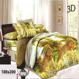 Cieniowana zielona pościel 3d 180x200 bawełna dzikie koty w cętki