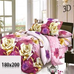 Fioletowa w róże kwiaty i wzory pościel 3d 180/200