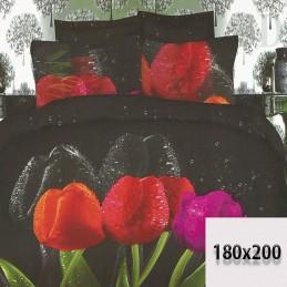 Czarna pościel w tulipany 6 części