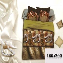 Pościel beżowa i brązowa 6 częściowa 180/200