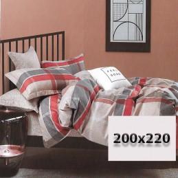 Komplet dwustronny 200/220 w kratę bawełna