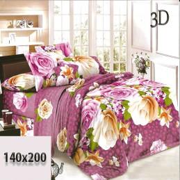 Czarne w fioletowe cętki prześcieradło 3d w róże 180x200 bawełna
