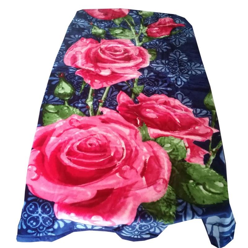 Niebieski koc w róże 160x200