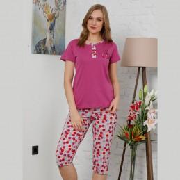 Piżama damska letnia różowa z wisienkami M L XL 2XL
