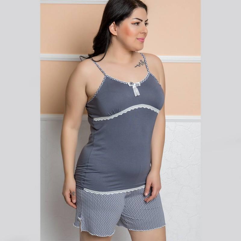 Piżama szara damska koronkowa wzór w kropki XL 2XL 3XL