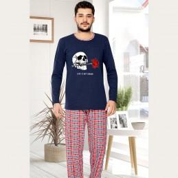 Piżama męska z czaszką długi rękaw M L XL 2XL