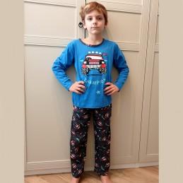 Piżama dla chłopca niebieska z samochodem 122 128 134 140 146 152