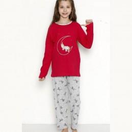 Czerwona piżama dziewczęca jednorożec 122 128 134 140 146 152