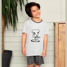 piżama z pieskiem dla chłopca szara 134 140 146 152 158 164