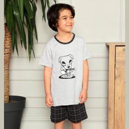 Piżama grafitowa chłopięca nadruk z pieskiem 134 140 146 152 158 164