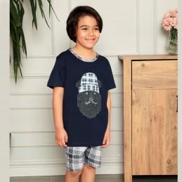 Granatowa piżama dla chłopca w kratę 134 140 146 152 158 164