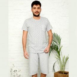 Piżama męska z kieszonką jasna bawełna M L XL 2XL 3XL