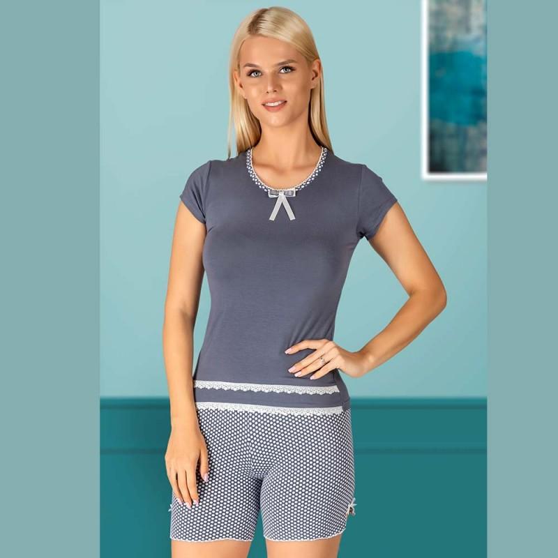Piżama ciemnoszara w kropki damska krótkie spodenki M L XL 2XL