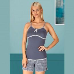 Letnia piżama damska ciemny kolor krótkie spodenki z koronką M L XL 2XL