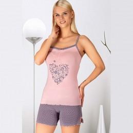 Piżama damska różowa letnia krótkie spodenki M L XL 2XL