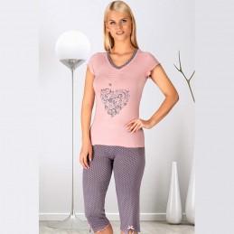 Śliczna dopasowana piżama damska komplet z nadrukiem M L XL 2XL