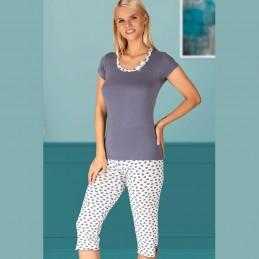 Wygodna damska piżama komplet w biało-szare serca M L XL 2XL