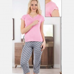 Piżama damska uroczy komplet wyjątkowy wzór koronka M L XL 2XL