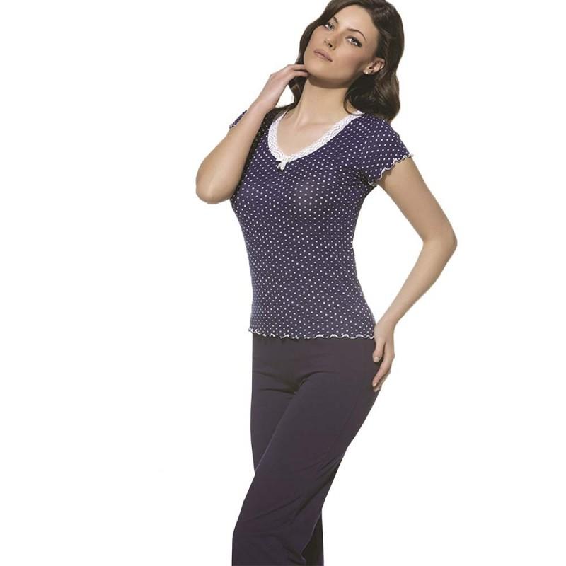 Piżama damska komplet w granatowym kolorze z koronką M L XL