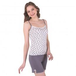 Piżama ecru damska krótkie spodenki dopasowana M L XL 2XL