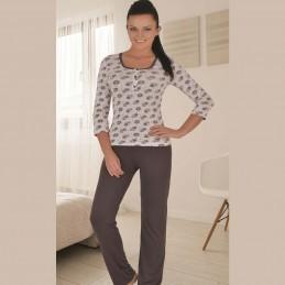 Piżama damska długa brązowa z rozpinanym dekoltem M L XL 2XL